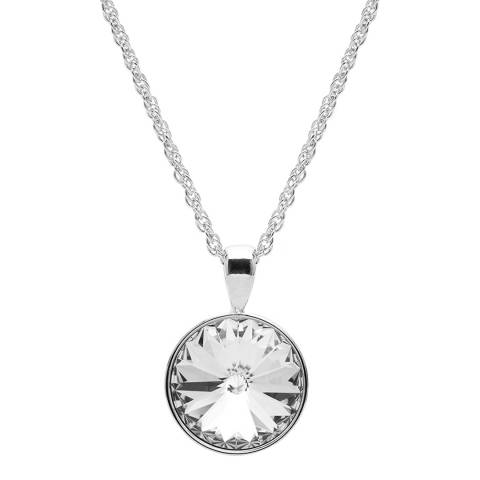 Aura Silver Crystal Timeless Circle Pendant Necklace