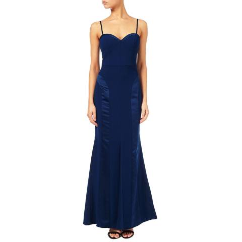 Aidan Mattox Navy Crepe And Charmeuse Sweetheart Gown
