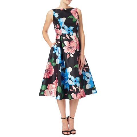 Adrianna Papell Black Floral Printed Arcadia Tea Dress