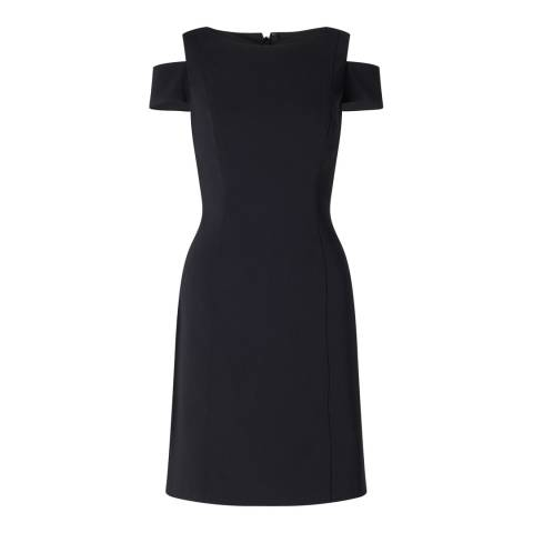 Adrianna Papell Black Cut Out Cold Shoulder A Line Dress