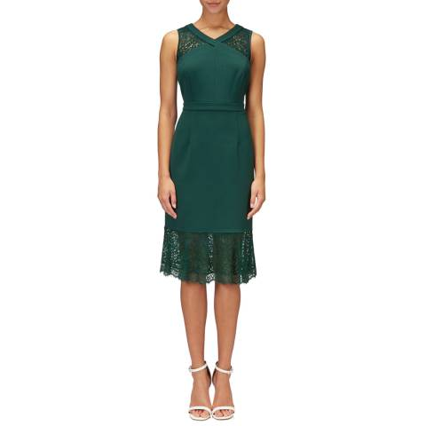 Adrianna Papell Forest Green Midi Mermaid Dress