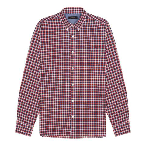 Jaeger Blue Casual Chambray Check Shirt