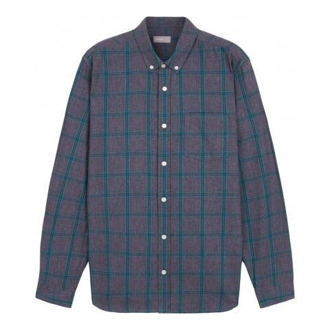 Jaeger Grey/Blue Brushed Overpane Check Shirt