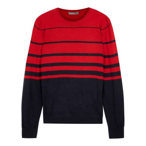 Jaeger Red Gradient Striped Crew