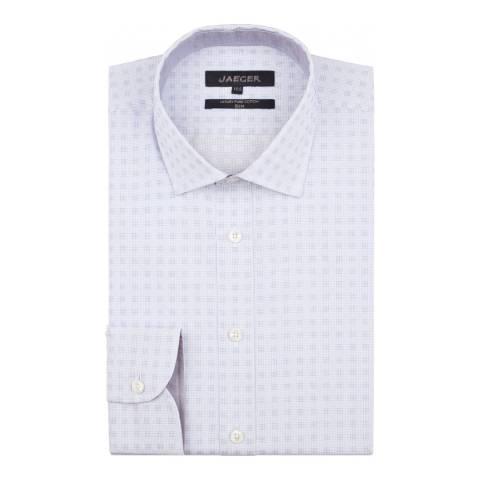 Jaeger Blue Dobby Square Weave Slim Shirt