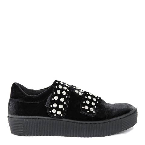 Onako Black Velvet Bejeweled Eveline Double Strap Sneaker