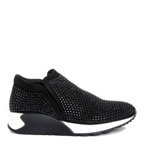 Onako Black Satin Bejeweled Kerry Sneaker