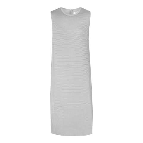 Reiss Ice Grey Beya Pleated Front Dress