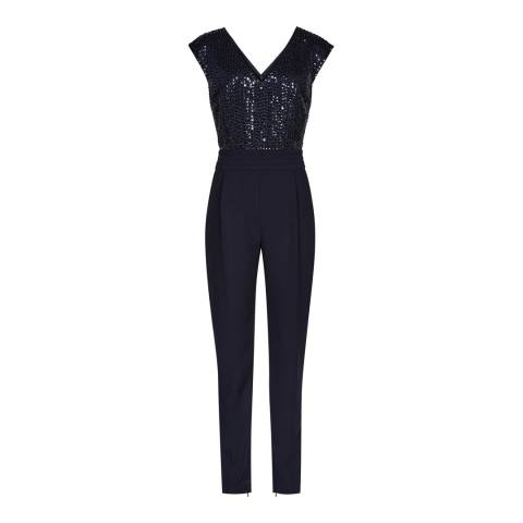 Reiss Night Navy Maaya Embellished Top Jumpsuit