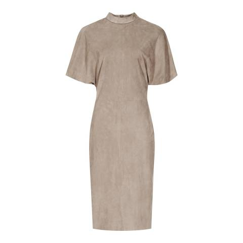 Reiss Neutral Margeaux High Neck Suede Leather Dress