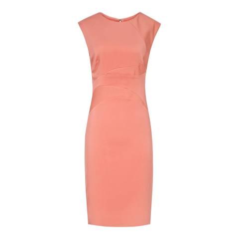 Reiss Warm Pink Danielle Bodycon Seam Dress
