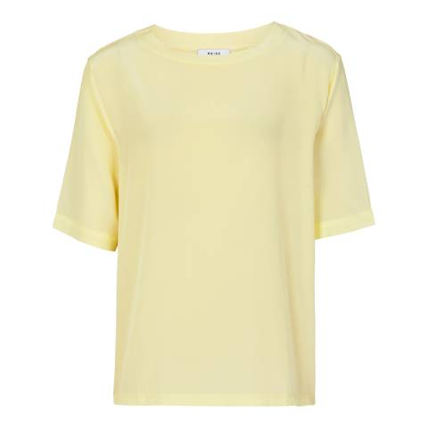 Reiss Lemon Greer Oversized Silk Front T-Shirt