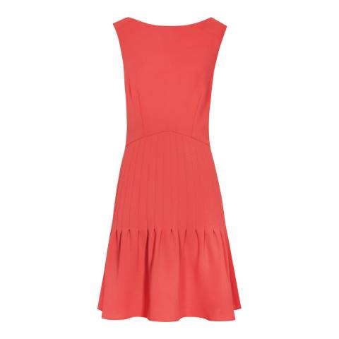 Reiss Soft Red Marisa Pin Tuck Dress