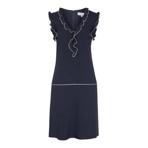 Reiss Night Navy Vivienne Frill Detail Shift Dress
