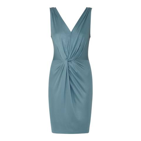 Reiss Sea Blue Kiera Twist Detail Dress
