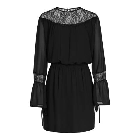 Reiss Black Rexie Lace Insert Boho Dress