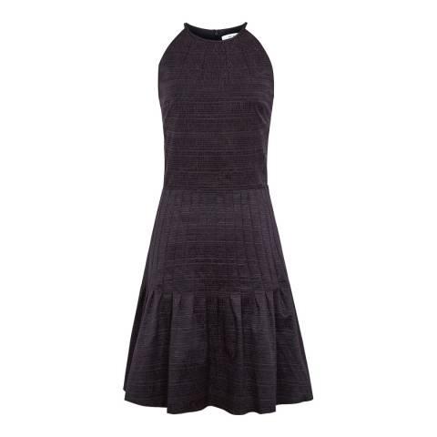 Reiss Night Navy Marelle Textured Pleated Dress