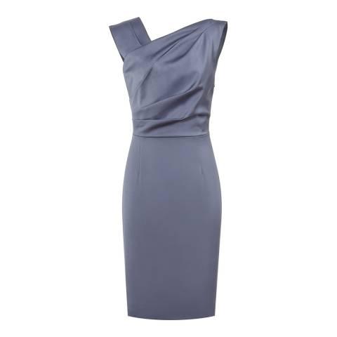Reiss Stone Blue Tania Pleat Detail Dress