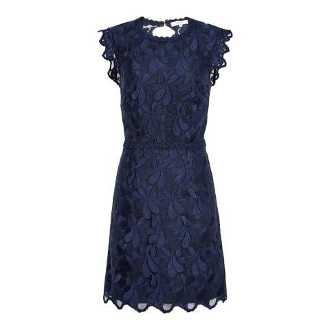 Reiss Teal Blue Sami Graphic Floral Open Back Lace Dress