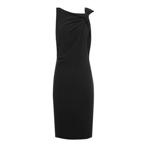 Reiss Black Aliya Asymmetric Neckline Cocktail Dress