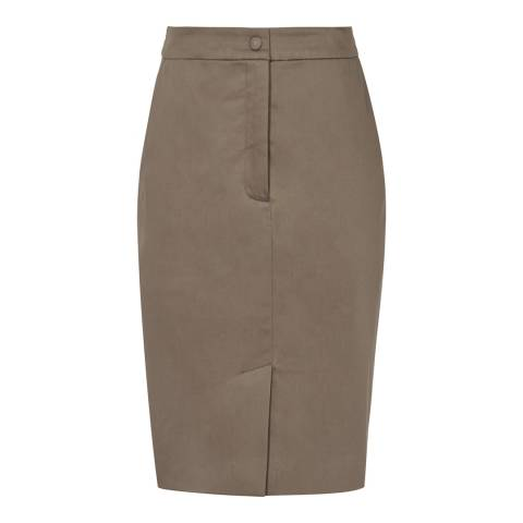 Reiss Khaki Raia Straight Cotton Blend Skirt