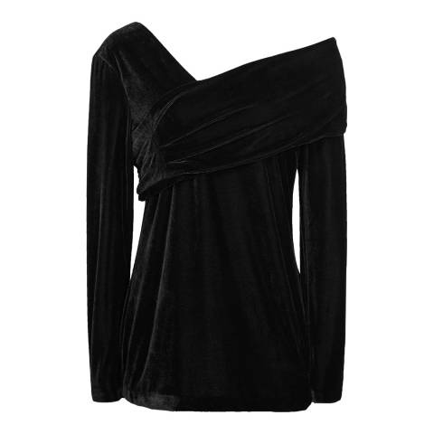 Reiss Black Carrey Velvet Top
