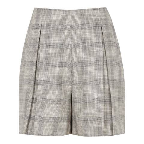 Reiss Grey/Black Webb Heritage Wool/Cotton Blend Check Shorts