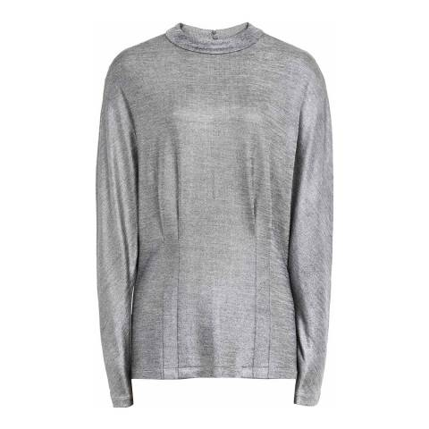 Reiss Silver Gale Jersey Metallic Top