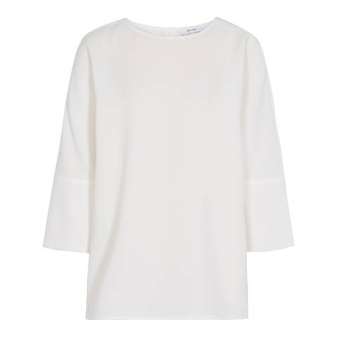 Reiss Off White Bells Button Back Top