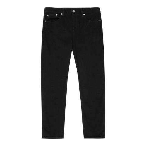 Reiss Black Raven Straight Leg Stretch Jeans