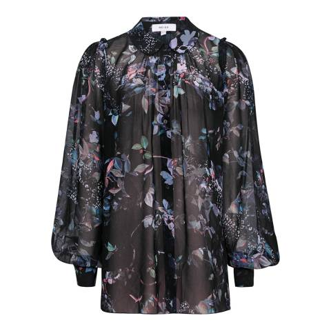 Reiss Multi Khali Printed Pintuck Shirt