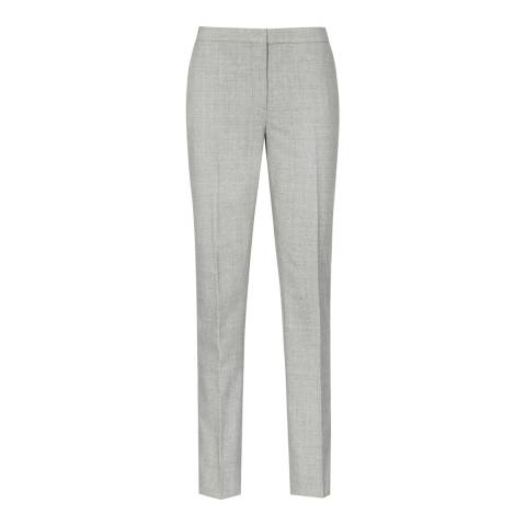 Reiss Mid Grey Aleggra Checked Wool Blend Trousers