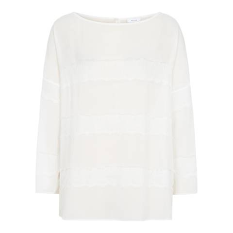 Reiss Off White Nellie Lace Panel Top