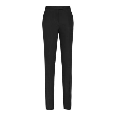Reiss Black Dartmouth Straight Leg Wool Blend Trousers