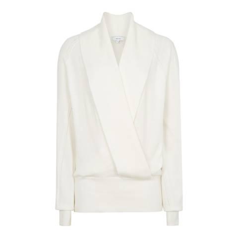 Reiss White Blanche Mix Wrap Wool Blend Jumper