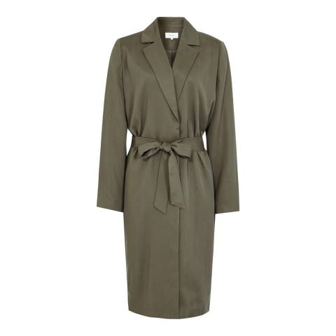 Reiss Pine Hattan Cupro Trench Coat