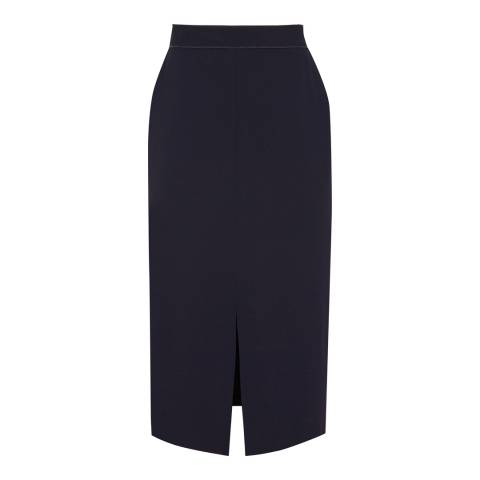 Reiss Night Navy Karmel Longline Pencil Skirt