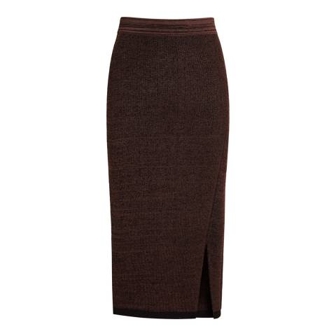 Reiss Chocolate Cassie Knitted Pencil Skirt