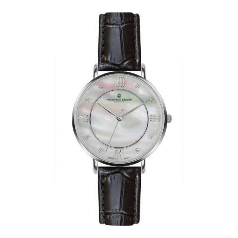 Frederic Graff Women's Silver/Black Liskamm Croco Leather Watch 38mm