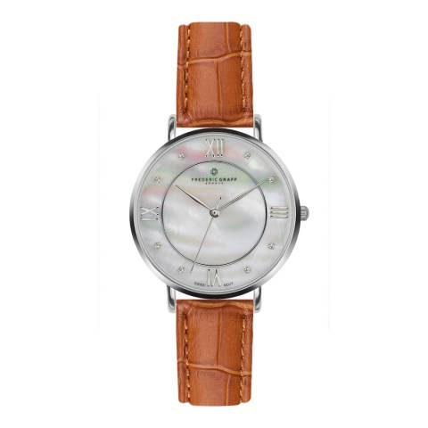 Frederic Graff Women's Silver/Brown Liskamm Croco Leather Watch 38mm