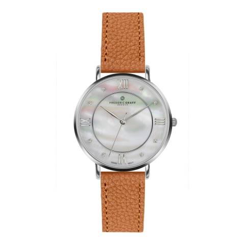 Frederic Graff Women's Silver/Brown Liskamm Lychee Leather Watch 38mm