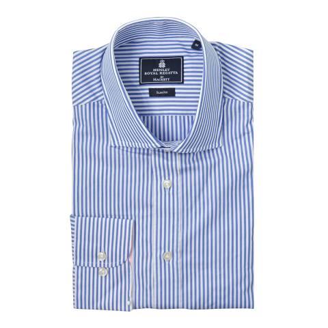 Hackett London Blue/White Henley Bengal Slim Cotton Shirt