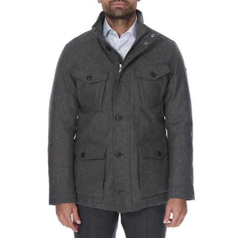 Hackett London Dark Grey Herringbone Wool Jacket