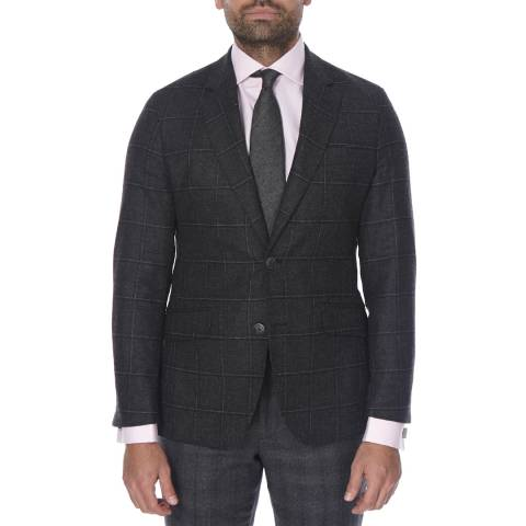 Hackett London Charcoal Windowpane Check Wool Jacket