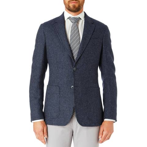 Hackett London Blue Textured Geometric Wool Jacket