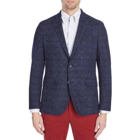 Hackett London Navy Mayfair Pow Knit Wool Jacket