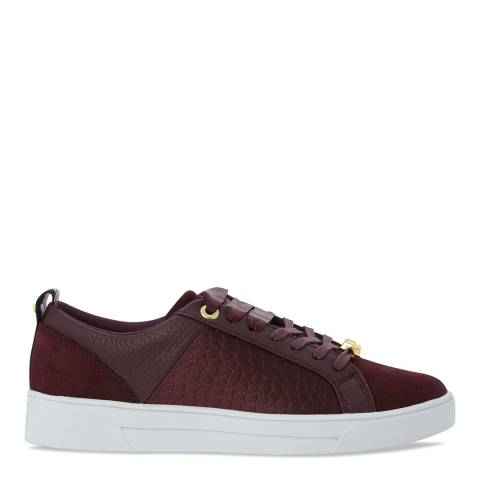 Ted Baker Burgundy Leather Contrast Trim Kulei Sneakers