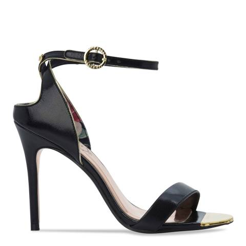 Ted Baker Black Leather Mirobell Cut Out Stiletto Sandals