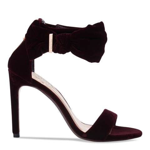 Ted Baker Burgundy Velvet Torabel Bow Sandals
