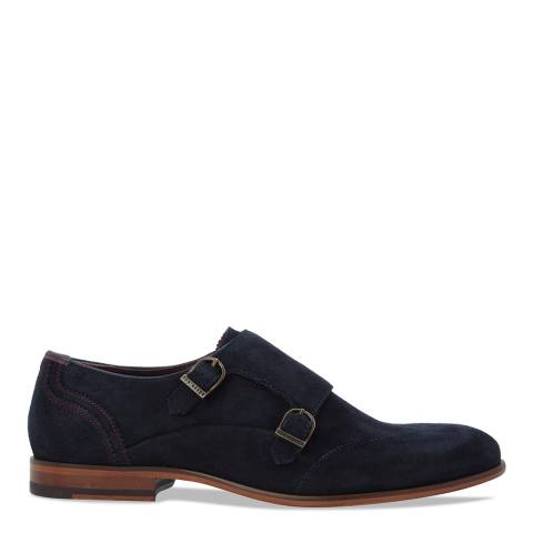 Ted Baker Navy Suede Rovere Monk Strap Shoes